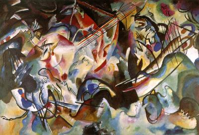 balancingtheuniverse:  Piece: Composition VI Artist: Kandinsky Movement: German Expressionism Kandinsky was synesthetic (when 2 or more of your senses combine to create a unique experience. Kandinsky could see color when he heard music and heard music when he saw color) so almost all his paintings were these huge expressions of color and what he experienced when he heard music. Abstract expressionism was a very emotional movement, and very concerned with the sense and how they made the artist feel and how that artist could express that experience through art.