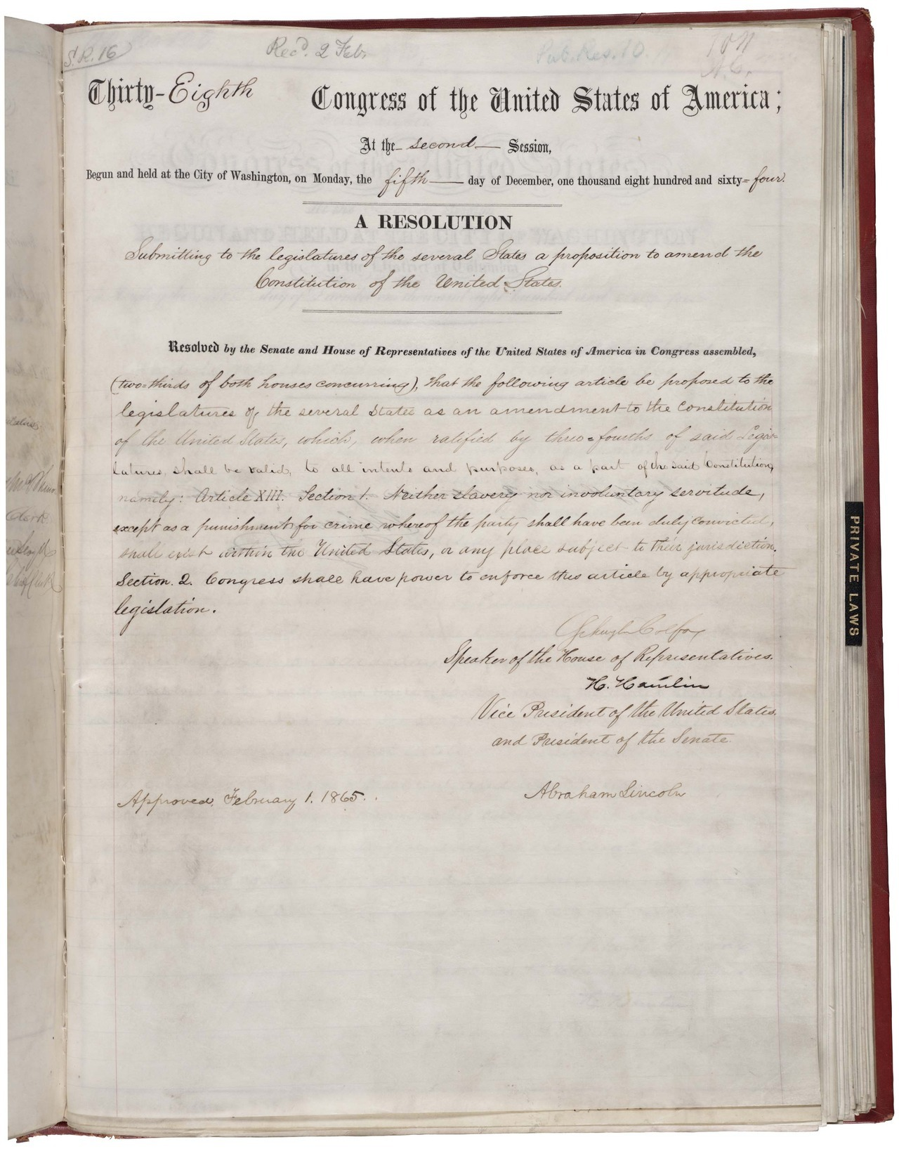 "147 Years Ago Today, the U.S. Outlawed Slavery Happy birthday, 13th Amendment! In honor of the anniversary, here's a collection of excellent stories from The Atlantic's archives. Where Will It End? (Dec. 1857): In The Atlantic's second issue, Edmund Quincy urges readers to take a stand against slavery. ""It is only the statement of the truism in moral and in political economy,"" he wrote, ""that true prosperity can never grow up from wrong and wickedness."" American Civilization (Apr. 1862): Ralph Waldo Emerson's vehement argument for the federal emancipation of slaves. ""Morality,"" above all else, he asserted, ""is the object of government."" The President's Proclamation (Nov. 1862): Seven months later, Emerson hails Lincoln's Emancipation Proclamation as an act that would mean ""the lives of our heroes have not been sacrificed in vain."" Reconstruction, and an Appeal to Impartial Suffrage (Dec. 1866): In the same month the 13th Amendment was adopted, Frederick Douglass pushed lawmakers to grant black Americans the vote: ""Slavery is not abolished until the black man has the ballot."" The Death of Slavery (Jul. 1866): William Cullen Bryant's stirring poem about the demise of the ""cruel reign"" of slavery. This is a very, very incomplete collection of stories from the era about slavery. (We were, after all, an abolitionist magazine.) For more, take a look at the commemorative Civil War issue we published last year. [Image: Wikimedia Commons/National Archives]"