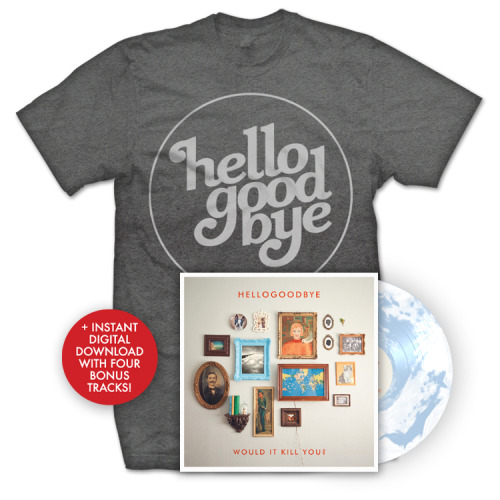 PRE-ORDER bundles for Hellogoodbye's Would It Kill You? re-release are now available via our Old Friends Records merch store! Grab this T-shirt/Vinyl bundle & receive a download of the album, including bonus tracks, instantly. Get started here. Waiting for the digital deluxe edition? Look for it at iTunes on December 18th.