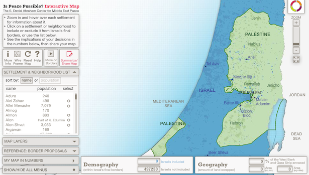 "Crowdsourcing an Israeli-Palestinian Border A new interactive tool allows you to decide how many Israeli settlers to annex and what constitutes a viable Palestinian state.  One day after the Palestinians successfully upgraded their state at the United Nations General Assembly, the Israeli government announced ""preliminary zoning and planning preparations"" for a plot of land just outside of Jerusalem known as E1. Many were quick to condemn the move as a significant blow to the already-gridlocked peace process, perhaps even more so than other settlement construction announcements, since construction in E1 would separate the major Palestinian cities of Ramallah and Bethlehem from Jerusalem. UN Secretary General Ban Ki-moon decried the plan as ""an almost fatal blow to remaining chances of securing a two-state solution,"" while The New York Times declared that ""If such a project were to go beyond blueprints, it could prevent the creation of a viable, contiguous Palestinian state.""  [Image: S. Daniel Abraham Center for Middle East Peace/SAYA/Is Peace Possible?]"