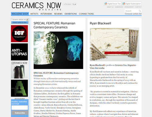 Ceramics Now Magazine website - contemporary ceramics magazine