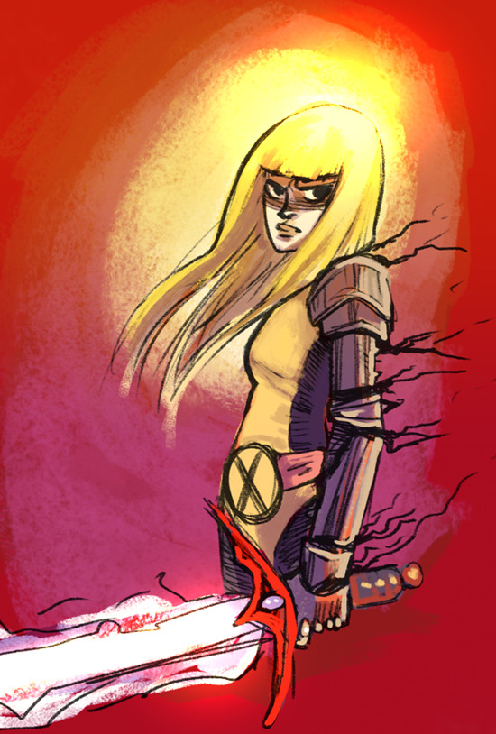 I've been reading more classic Claremont-era New Mutants, so tried to draw Illanya, but got frustrated and gave up. Probably won't go any farther with this sketch. I'll do something better of her another time.