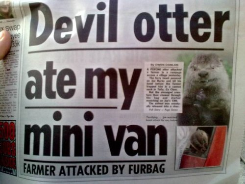 Devil Otter Ate My Minivan Just another boring, mundane local news story that we can all relate to.