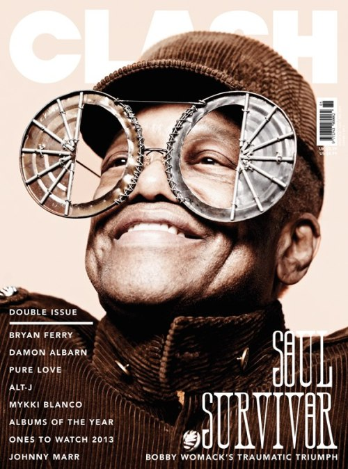 How fantastic does Bobby Womack look on the January/February issue of Clash magazine? And click here to see more amazing glasses in the behind-the-scenes video of the cover shoot.