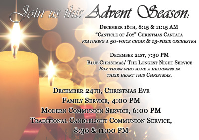 Join us for our many activities happening this Advent season at St. Matthew's United Methodist Church in Annandale, VA.