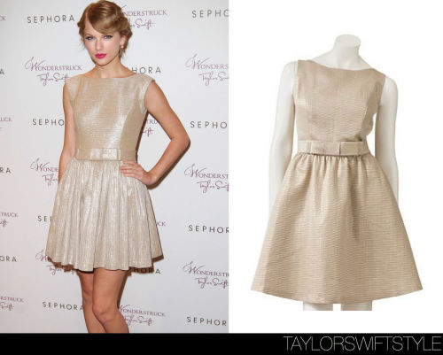 taylorswiftstyle:  Wonderstruck Launch | Glendale, California | October 18, 2011 GET THE LOOK: LC Lauren Conrad 'Jacquard Flare Dress'- $38.40 The Real Deal: Contrarian Byrdie Dress