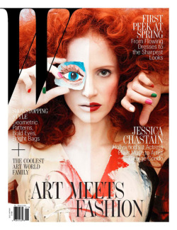 (via Art meets Jessica « Lovely Rita Blog) W Magazine, January 2013 Jessica Chastain as seen by artist George Condo