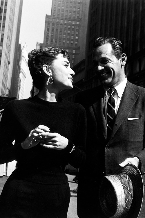 Audrey Hepburn & William Holden on the set of 'Sabrina', 1953.