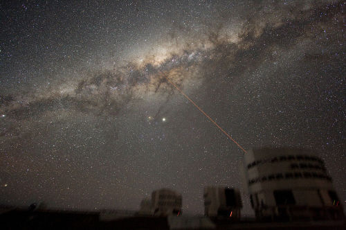 The Centre of the Milky Way Galaxy Image of the night sky above Paranal on 21 July 2007, taken by ESO astronomer Yuri Beletsky. A wide band of stars and dust clouds, spanning more than 100 degrees on the sky, is seen. This is the Milky Way, the Galaxy we belong to. At the centre of the image, two bright objects are visible. The brightest is the planet Jupiter, while the other is the star Antares. Three of the four 8.2-m telescopes forming ESO's VLT are seen, with a laser beaming out from Yepun, Unit Telescope number 4. The laser points directly at the Galactic Centre. Also visible are three of the 1.8-m Auxiliary Telescopes used for interferometry. They show small light beams which are diodes located on the domes. The exposure time is 5 minutes and because the tracking was made on the stars, the telescopes are slightly blurred. Source: http://www.eso.org/public/images/eso0733a/