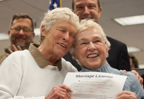 explore-blog:  Meet the first couple to receive a same-sex marriage license in Washington state: Jane Abbott Lighty, 77, and Pete-e Peterson, 85, who have been together over 35 years.  This. <3 <3 <3