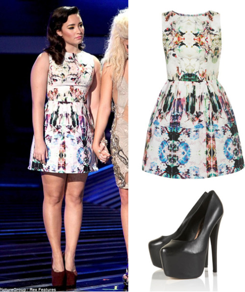 Demi Lovato on the USA X factor recently. i love this dress, and im contemplating buying it. its a gorgeous print, but im not sure if it completely suites Demi  Get the dress —> HERE Get the shoes (not the exact colour) —> HERE