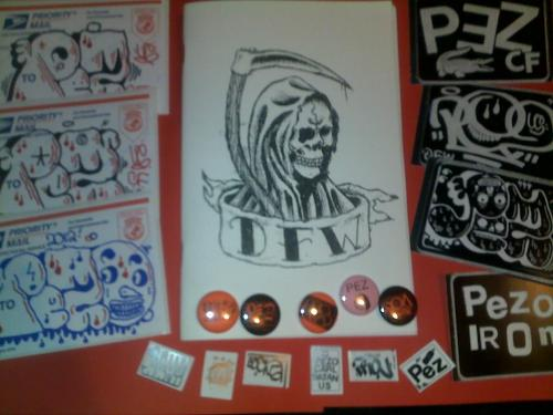 D.F.W. brand new zine !!! 40 pages black and white.card stock cover,comes with a bunch of stickers and buttons !!limited to 100 copies .featuring art and photography by PEZ,NEMEL,CRAMPTON and AME….$15 includes postage .(international orders add $5) make payments thru www.paypal.com contact is pezsnake@yahoo.com