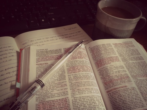 This morning! [Bible + devotion + a cup of coffee + praise and worship songs + christian blogs = soak in the presence of God!]