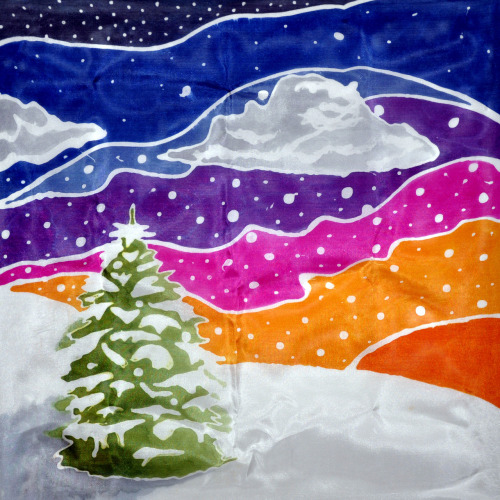 Sneak peak: This is a silk painting I did for Christmas cards that I'm making.