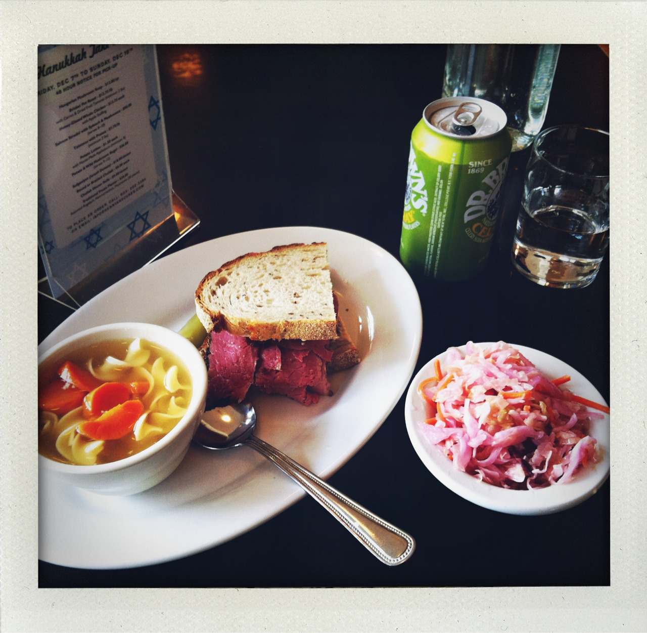 lunch special: half pastrami on rye with russian dressing and cup of chicken soup. side of coleslaw. cel-ray. end of term! i had myself a treat lunch today at kenny and zukes. that's right, i go deli when i go treat. i'll see you in a bit east coast, and then i will eat all of your bagels, because it ain't the same over here.