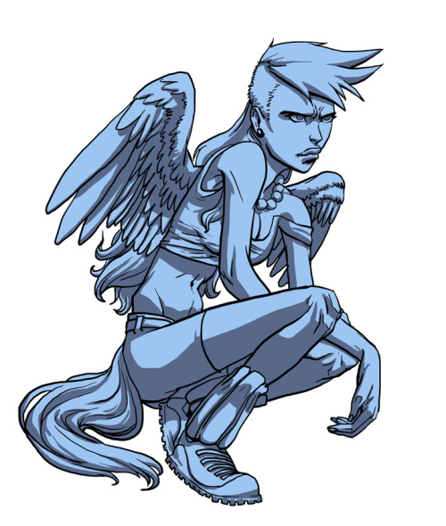 conroyconroy:  Monochrome sketch of Rainbow Dash humanized. Colored version later.