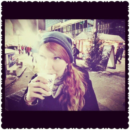 Drinking Glühwein last night at the Christmas market ;) ……..    (at Alexanderplatz)