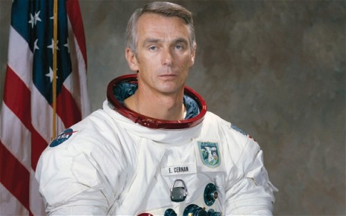 "Apollo 17 commander left camera on moon 40 years ago The last man to walk on the moon has revealed how he left his camera behind on the lunar surface 40 years ago, only to find that no one went back to collect it for him.  Apollo 17 Commander Eugene Cernan's camera is still sitting exactly where it was left with its lens pointing out into space; an experiment into solar cosmic radiation he hoped could be collected by future astronauts.   But 40 years on Cernan's departing footprints remain the last to be planted on the lunar surface, as NASA budget cutbacks eventually forced the closure of the Apollo programme.   The retired U.S. Navy captain and veteran of three space flights said he still remembers the image of his last footprint as he left the Moon, but that he wished he had the photograph to prove it.   Speaking ahead of the 40th anniversary of the Apollo 17 launch today he said: ""I left my Hasselblad camera there with the lens pointing up at the zenith, the idea being someday someone would come back and find out how much deterioration solar cosmic radiation had on the glass.   ""So, going up the ladder, I never took a photo of my last footstep. How dumb! Wouldn't it have been better to take the camera with me, get the shot, take the film pack off and then (for weight restrictions) throw the camera away?"" Back in 1972, Cernan, 78, thought his voyage ""wasn't the end but the beginning"" for manned exploration of the Moon, and believed an astronaut would have set foot on Mars by the end of the century. Instead, NASA's budget began to decline and three further missions planned to follow Cernan's crew were scrapped, bringing an end to the ""golden age"" of space flight. Full Article→ Credit: Nick Collins, Science Correspondent for The Telegraph"