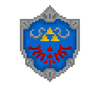 "pixelblock:  A Hylian Shield, the nigh-unbreakable legendary shield used by the Knights of Hyrule and recurring icon of the ""Legend Of Zelda"" series, now rendered in a blocky 35 x 45 pixel resolution. A suprisingly difficult thing to derezz, but I think it was well worth it."