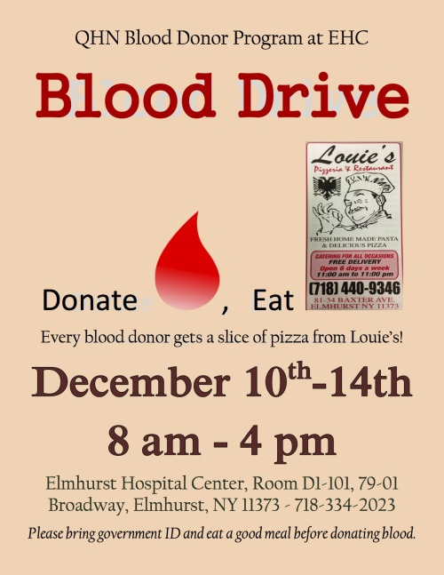 Get a free slice for donating blood in Queens!
