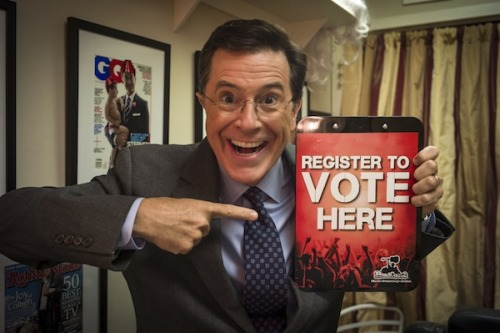 "hypervocal:   Conservative Sen. Jim DeMint is resigning, and Stephen Colbert wants the job. All he wants us to do is tweet #SenatorColbert at Gov. Nikki Haley.Want to help make #SenatorColbert a reality? Check out Colbert's pitch here. Reblog/share/like this if you want Senator Colbert to happen.   ""Tweet @nikkihaley & tell her why I belong in the US Senate. For one, I wouldn't just block legislation, I'd body-check it! #SenatorColbert"" For our money, we want Alvin Greene back in. Here's why:"