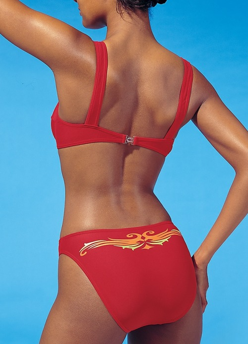 Arizona Red Tattoo Underwired Bikini Modern bikini infused with a stunning red tone and a contrasting tattoo design flows across the back of the briefs. To increase support the top has been underwired and for ease of use it has a single fastening at the back.