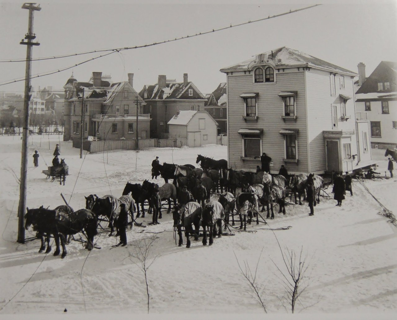 Lewis Benjamin Foote, Moving a House with Horses, c 1915  Even earlier Winnipeg. Community building exercise!