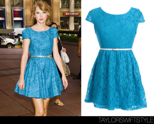 taylorswiftstyle:  Out and about | New York City, NY | July 22, 2011 GET THE LOOK: Delia's 'Short-Sleeve Lace Dress'- $44.50 35.60 Buy the real deal: Tibi Dress