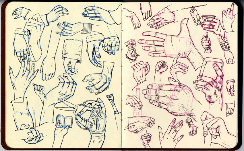 HAND DRILLS. I wrote some on my blog about drawing hands for a month, the Platinum Carbon pen I used, and my friend Joe Lambert's handmade sketchbooks. Enjoy!