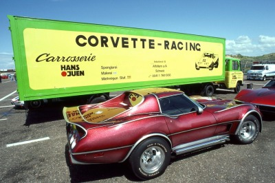 I shot this custom Corvette and racecar trailer at the Swiss Corvette Club International (SCCI) event at Zandvoort GP circuit in Holland in July, 1984. Great event, great track, great fun!