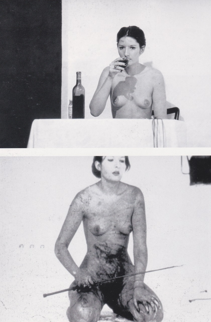 arteperformativa:  THOMAS LIPS, 1975PERFORMANCE2 HR.GALERIE KRINZINGERINNSBRUCK I slowly eat 1 kilo of honeywith a silver spoon. I slowly drink 1 litre of red wine out of a crystal glass. I break the glass with my right hand. I cut a five-pointed star on mystomach with a razor blade. I violently whip until Ino longer feel any pain. I lay down on a cross madeof ice blocks. The heat of a suspended heaterpointed at my stomach causesthe cut star to bleed. The rest of my body begins to freeze.I remain on the ice cross for 30minutes until the public interrupts thepiece by removing the ice blocks fromunderneath me.