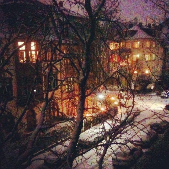 // Frankfurt: the view onto our street from our kitchen window // yeah, it snowed all afternoon, no big deal //