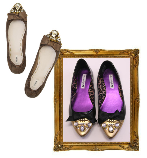 I love these bejeweled Miu Miu ballet flats from A/W 2010- elegant and dainty. Talk about walking in style! If you don't want to splurge but want a pair (like me) check out this amazing DIY from Chic-Steals showing you how to create your own pair. Love! Original image from here