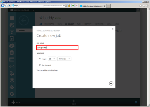 Create new scheduled job dialog