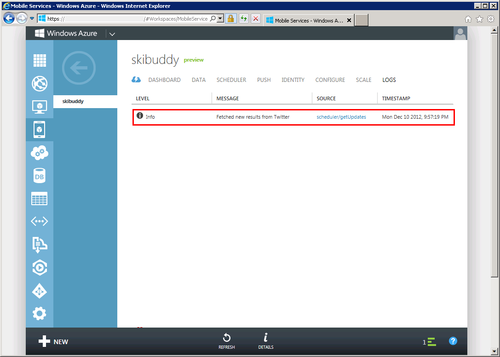 Logs tab in Azure portal