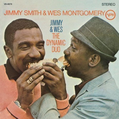 "jazzinbooks:      Wes Montgomery & Jimmy Smith    Down by the Riverside    Dynamic Duo    Verve, 1966      Creed Taylor matched two of his most famous artists, Wes Montgomery and Jimmy Smith, on this session (Montgomery's last for Verve), and the results are incendiary — a near-ideal meeting of yin and yang.Smith comes at your throat with his big attacks and blues runs while Montgomery responds with rounder, smoother octaves and single notes that still convey much heat. They are an amazing pair, complementing each other, driving each other, using their bop and blues taproots to fuse together a sound. The romping, aggressive big band charts — Oliver Nelson at his best — on ""Down by the Riverside""      (via jazzrelatedstuff)"