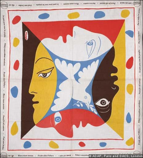 Art / Design Scarf Artist: Pablo Picasso (1951) Produced to commemorate the World Festival of Youth and Students for Peace, Berlin (1951). Source: Cold War Modern: Design 1945-1970 ,V&A, London 2008
