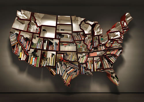 lorenrochelle:  Ron Arad's Bookcase Shaped Like the United States of America (neatorama) the coolest bookshelf you have ever never seen.