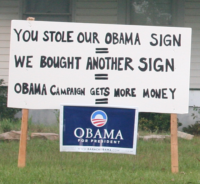 (via muchtoocynical, obamaporn) This is great. Steal all the signs!!