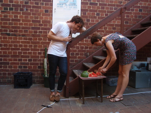 Australia Day - Jon and Tash discussing the finer points of watermelon slicing