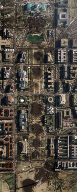 """This image provided by GeoEye Satellite Image shows Washington D.C.'s National Mall and the United States Capitol, far right, Washington D.C. on Tuesday, Jan. 20, 2009 taken at 11:19AM EDT during the inauguration of President Barack Obama. The image, taken through high, whispy white clouds, shows the masses of people between the Capitol and the Lincoln Memorial. (AP Photo/GeoEye Satellite Image)""  The Inauguration of President Barack Obama - The Big Picture - Boston.com"