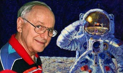 Alan Bean, artist, in front of one of his paintings of himself as astronaut.