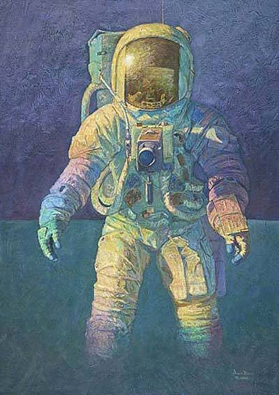 "That's How It Felt To Be On The Moon by Alan Bean""This is my answer to the question I've been asked most often since November 19, 1969.  I felt a long, long way from the people and places I love the most.  It seemed unreal…impossible.  From time to time I would look down and say to myself, ""this is the moon."" And then, I would look up at a small, beautiful, birght blue and white sphere hanging in the mysterious, luminous black sky and think, "" that is the earth.""  Words have never expressed what I experienced, but I thing that in this work I have captured some of the excitement and exhilaration I felt.  I wanted an eye-arresting image, somthing to communicate the excitement of being on the moon, so I began experimenting with ""exciting"" colors - bright primary tones.  But that didn't feel right. then as I worked, I began to see a rainbow effect in the layersof paint.  That feeling, of all colors being mixed but also harmonizing, finally allowed me to tell how it felt to walk on the moon.""- Alan Bean"