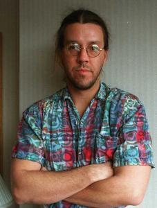 Maybe one of the best David Foster Wallace photographs in existence (just look at that face, why don't you, and even this is to say nothing of that shirt).  By Wendy Maeda for the Boston Globe, 1997.