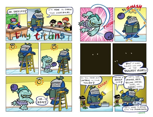 Blackest Nights! pages from Tiny Titans #18 by Art Baltazar and Franco Aureliani