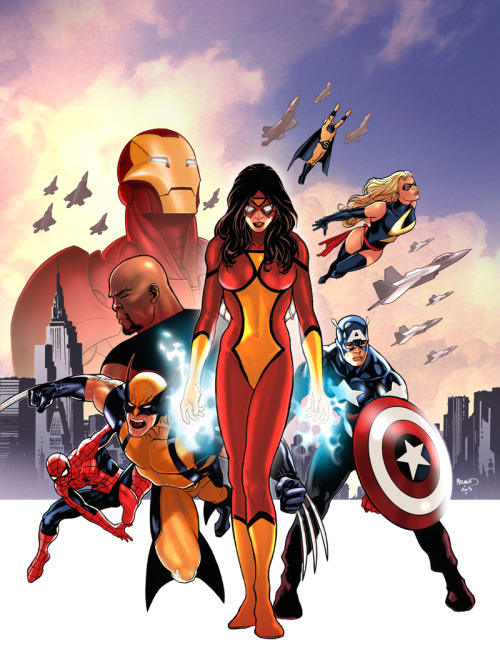 New Avengers in Comic Box #59 cover art by Paul Renaud