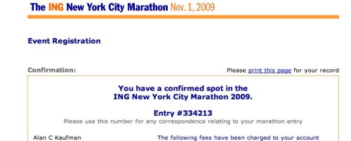 Acceptance!  If you don't get accepted into the NYC Marathon via their lottery for 3 consecutive years, you get a guaranteed entry.  I have been volunteering with Achilles during those non-selected years, but once in a while it's great to do the race as an official entry.