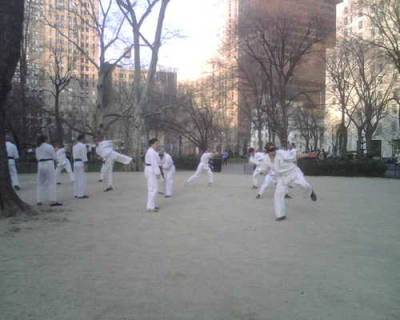 Blind folded martial arts in Madison Square Park